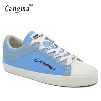 CANGMA  Brand Canvas Sneakers Women Casual Shoes Retro Trainers Blue Breathable Lace Up Ladies Denim Shoes Female Footwear