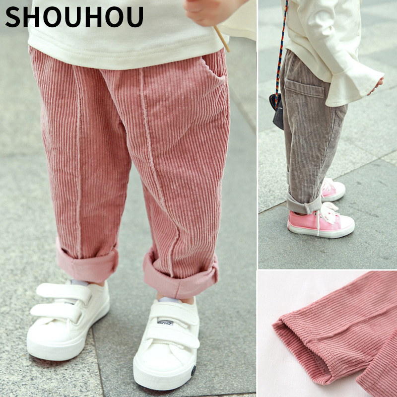 Shouhou Children Corduroy Trousers Boys Girls Long Cotton Trousers Spring Autumn Casual Pants Girls Kids Trousers Clothing