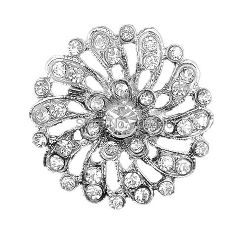 Round Flower Clear Rhinestone Diamante Crystal Silver Flower Cheap Brooch