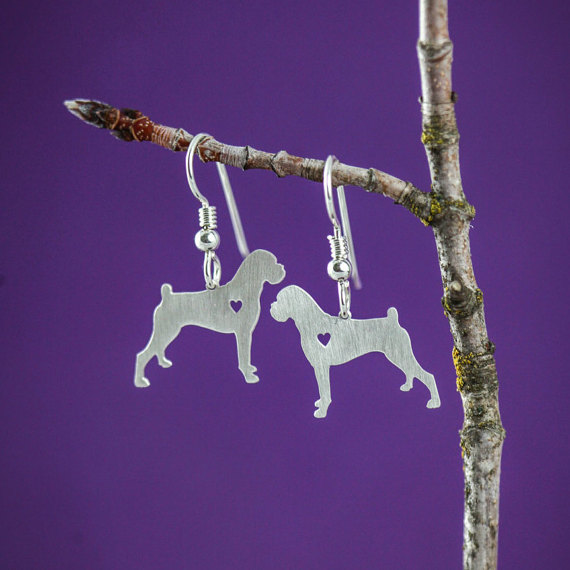 New Design Boxer Earrings Silver Dog Dangle Charm Earrings Memorial Mothers Day Gift Dog Lover For women bijoux Wholesale