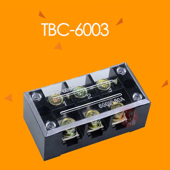 TBC-603 60A 3P 6 screws connector terminal block board wire wiring connectors fixed terminals pin line 3 poles 0.5-6MM2 image