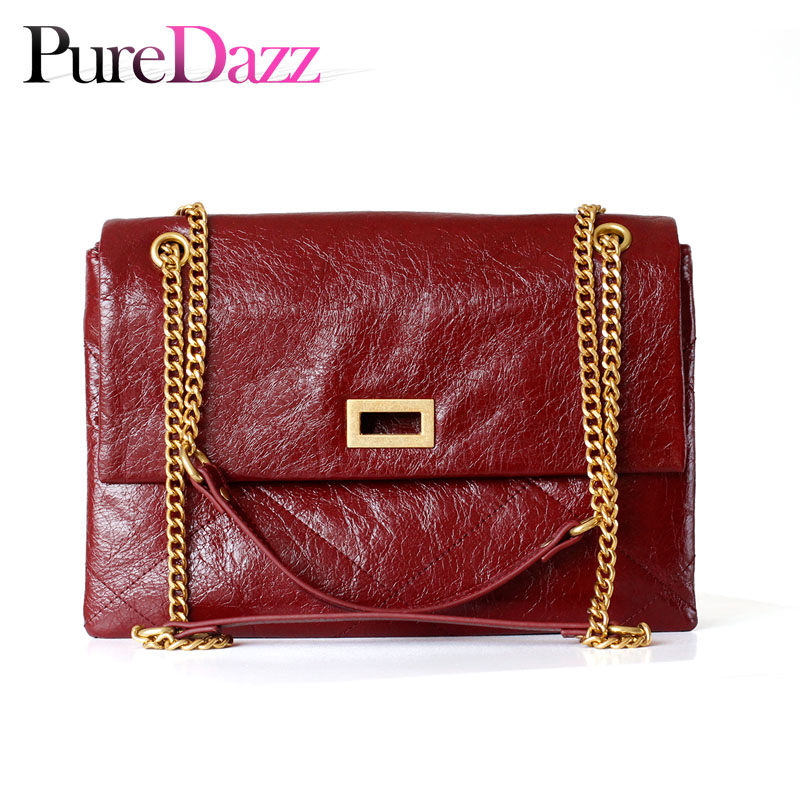 Full grain Leather Women Bag Oil Wax Cow Leather Flap Diamond Grain Shoulder Bag Chain Crossbody Messenger-in Top-Handle Bags from Luggage & Bags    1