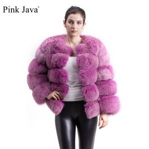 Image 1 - pink java QC8081 2017 new model women real fox fur coat long sleeves winter fashion fur  outfit high quality