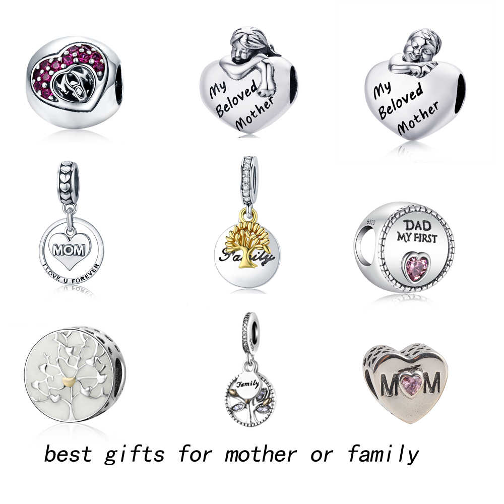 33296ed1e ZMZY New Authentic Silver Love Mother Charms Beads Fit Pandora Bracelets Original  925 Sterling Silver Jewelry