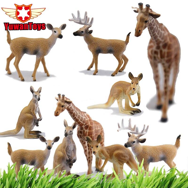 Funny Figure Lifelike Herbivore Animals Giraffe Kangaroo Deer Buck Model Hand Paind PVC