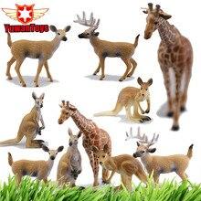 Funny Figure Lifelike Herbivore Animals Giraffe Kangaroo Deer Buck Model Hand Paind PVC Collectible Toys Christmas