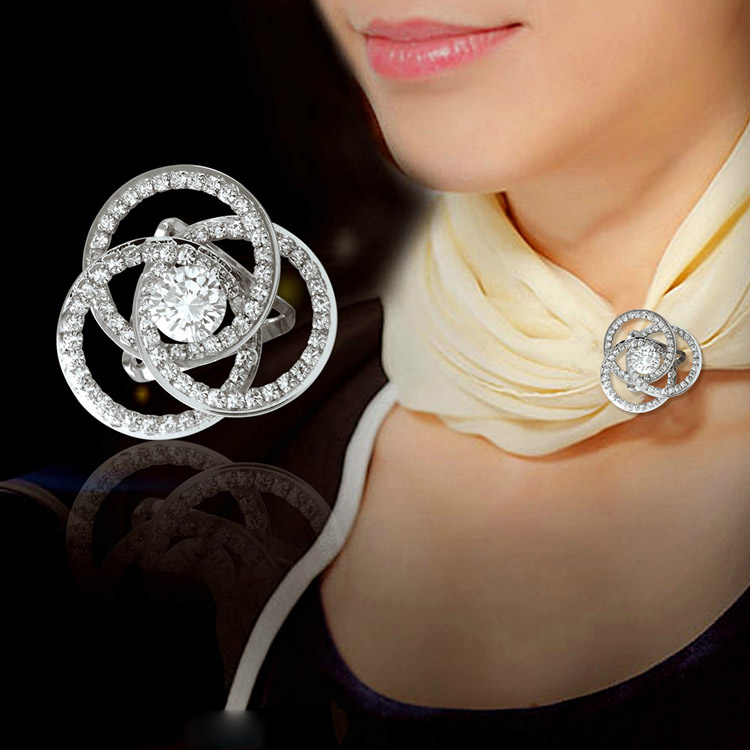 AAA Luxury Silver Plated Micro Pave Cubic Zirconia Crystals Tricyclic intersect Scarf Buckle Jewelry for Women