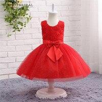 Modest Red Vestidos de Niña 2017 vestido de Bola Del Arco Vestido de Primera Comunión Para Niñas Fiesta Vestidos de Daminha