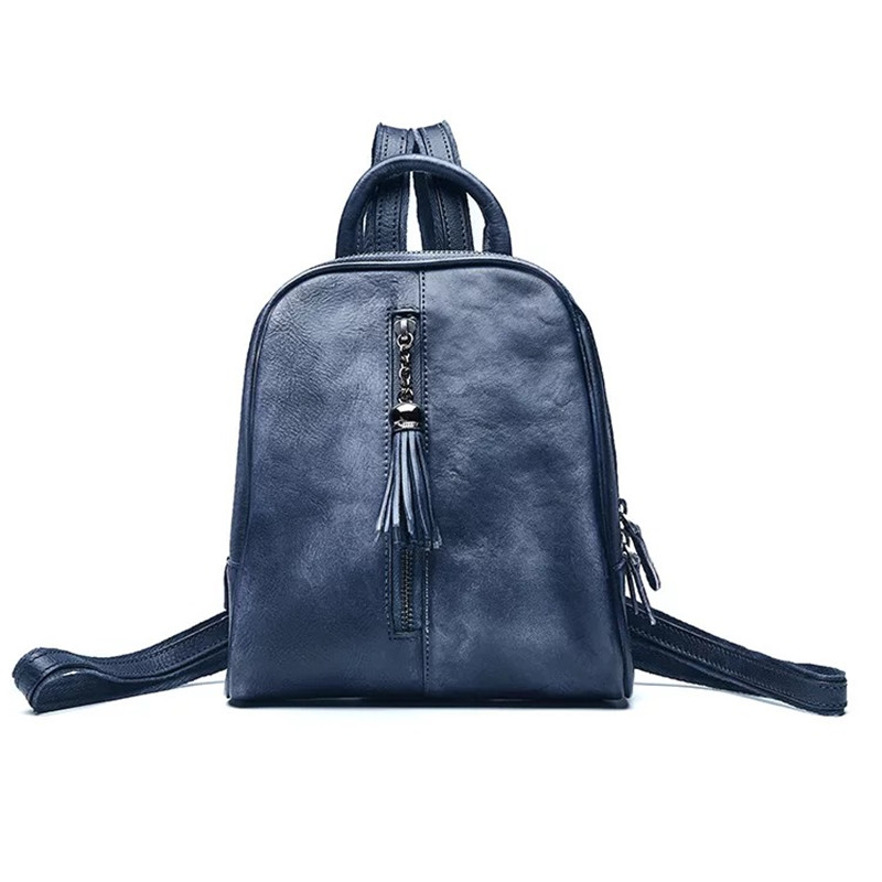 1ad095416c6b Vintage Designer Handmade Genuine Leather Zipper Closure Girl Small Tassel  Backpack Real Cowhide Woman Backpack Female Back pack-in Backpacks from  Luggage ...