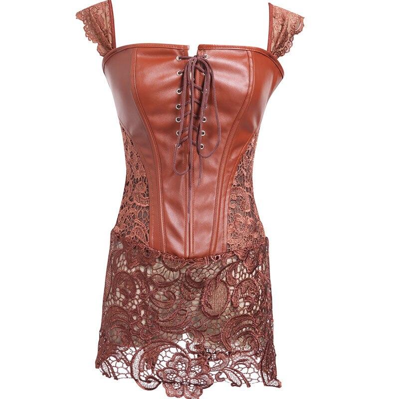 Steampunk Gothic Clothing Women Black Faux Leather Burlesque Plus Size Waist trainer   Corset   Dress Corpete Corselet