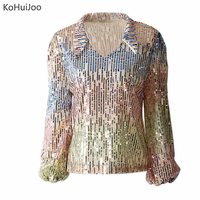 KoHuiJoo Women Sequined Blouse Shirt Long Sleeve V Neck Sexy Patchwork Runway Shirt Fashion Ladies Tops Streetwear