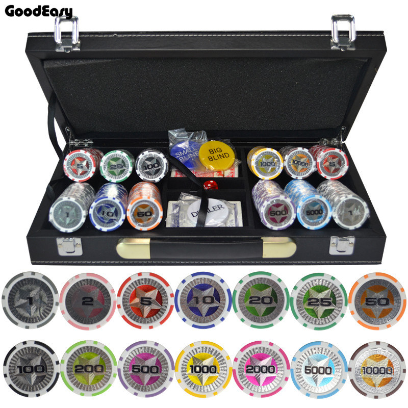 200,300,400,500PCS/Set New Casino Texas Hold'em ABS Poker Chips With Star Trim Sticker Poker Chip Set With Leather Suitcase