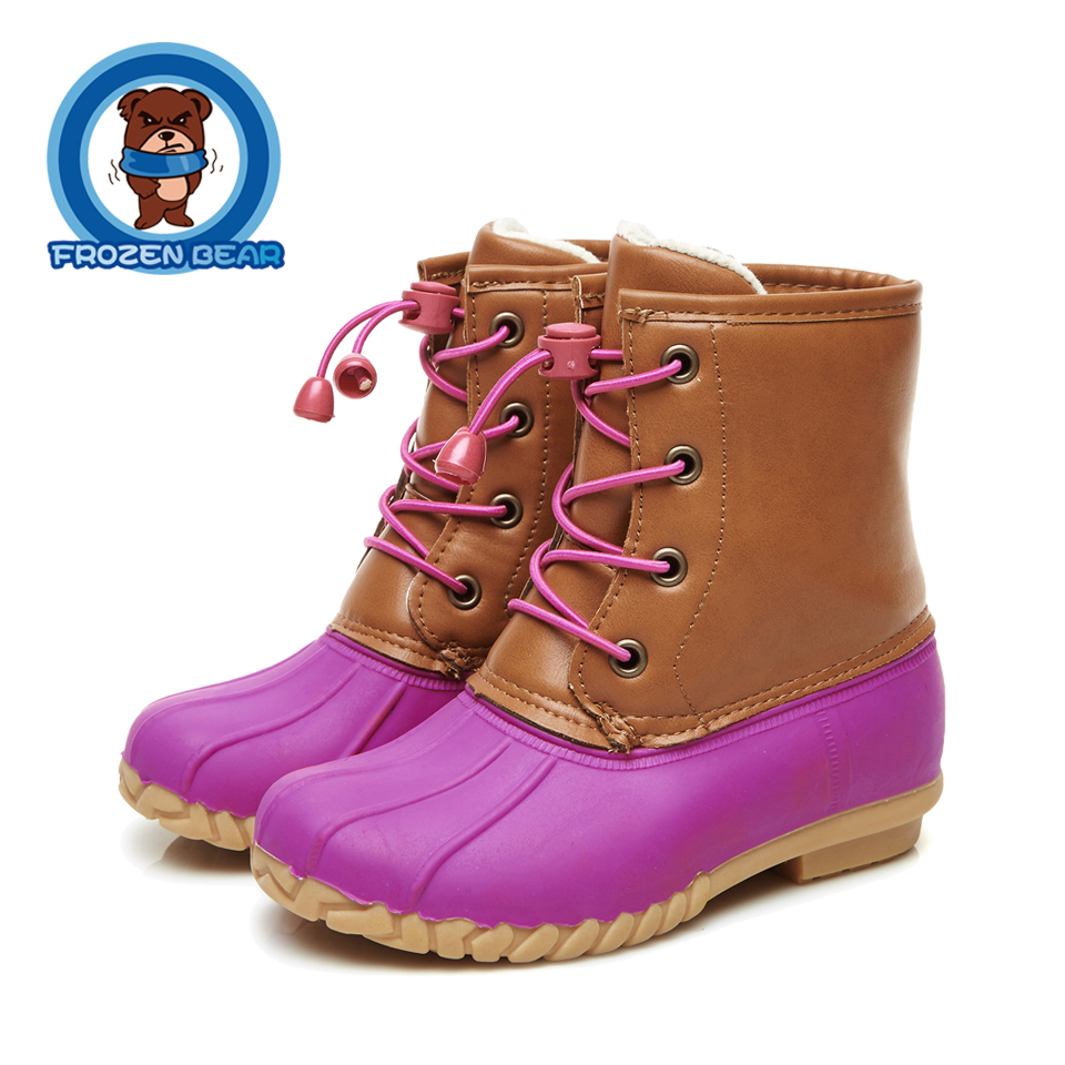 Round Toe Warm Soft Boots Mid-calf Kids Booties Snow Toddler Infant Fur Waterproof Baby Lowheeled Shoes Littles Girls Boy KT908B double buckle cross straps mid calf boots