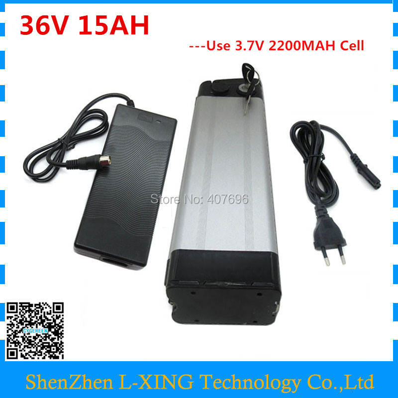 Free customs Fee 36 V Bike battery 36V 15AH 500W silver fish li-ion 36V 15AH Battery use 2200mah 18650 cell with 42V 2A Charger liitokala 36v 6ah 10s3p 18650 rechargeable battery pack modified bicycles electric vehicle protection with pcb 36v 2a charger