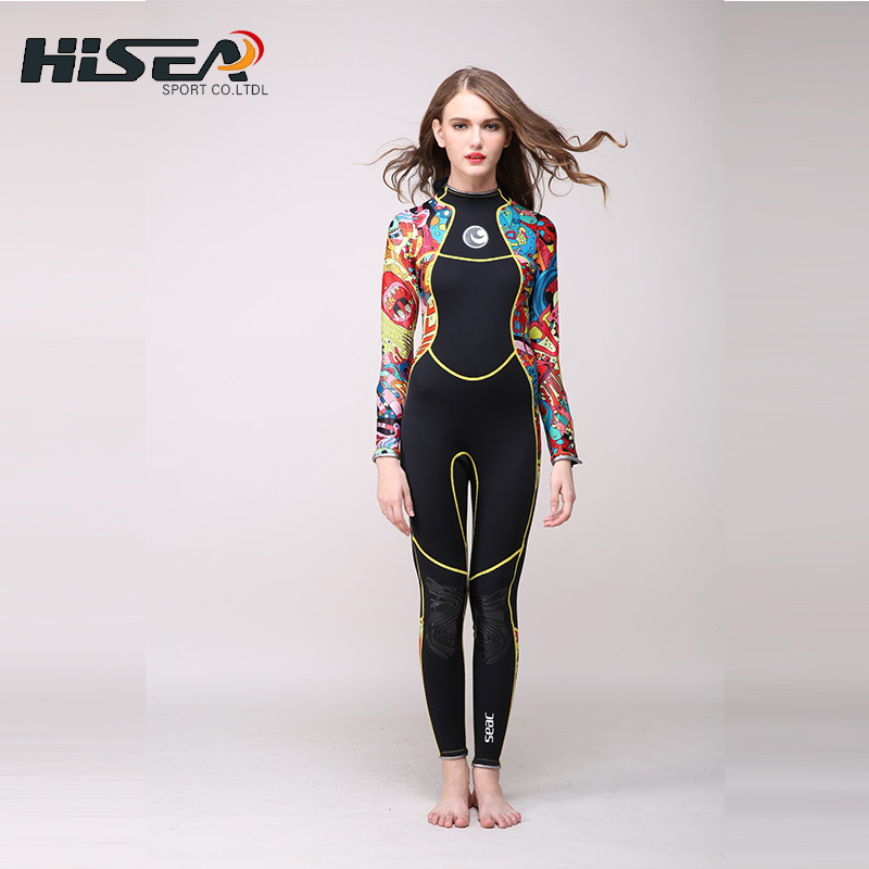 2017 New Hisea 3mm Neoprene Long sleeve Wetsuit  Women Spear fishing Wet Suit Diving Swimwear kite Surfing Completo Swimsuit high quality cortex 3 5mm surf diving wet suits jacket men women surfing diving spearfishing wet suit long sleeve jacket wetsuit