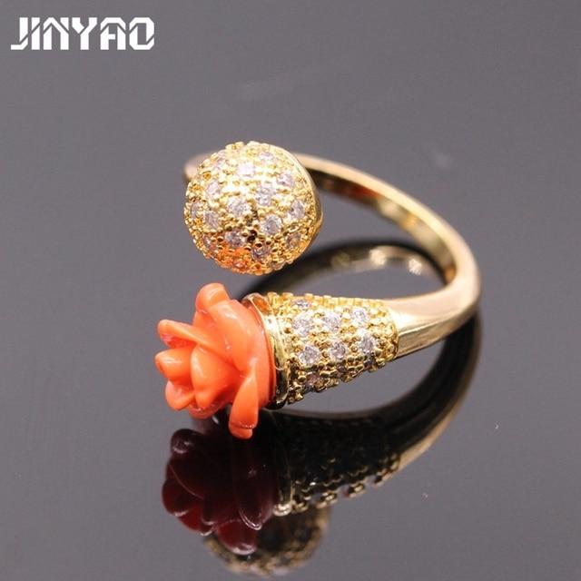 Jinyao Luksusowe Damskie Pierścionki Zaręczynowe Biżuteria Kwiat