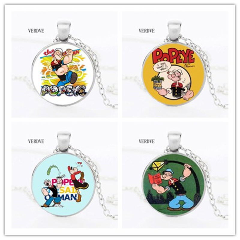 VERDVE new cartoon Popeye Crystal glass pendant round necklace childrens gift jewelry