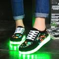 2016 новый прибыл женщины светодиодные светящиеся красочные обувь женская повседневная обувь женщин