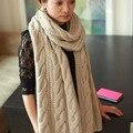 Горячая распродажа 2015 Подарки Большой женский вязанный шарф Толстый шарф-кашне Брендовый солидный цветной шарф для женщин