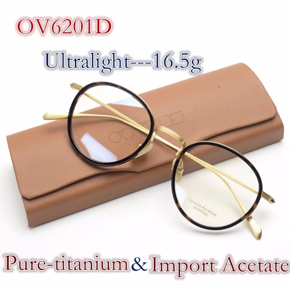 Vintage puro-titanium acetato in edizione limitata ottico round frame occhiali oliver OV6201 MIOPIA Occhiali delle donne degli uomini di custodia originale