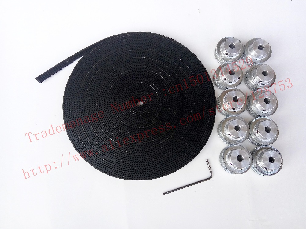 10pcs 40 teeth GT2 Timing Pulley Bore 5mm + 10 Meters GT2 timing Belt Width 6mm 2GT timing belt pulley for 3D free shipping free fast delivery 50t big teeth htd8m timing belt pulley