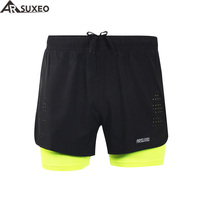 ARSUXEO 2017 Mens Sports 3 Running Shorts Active Training Exercise Jogging Shorts With Longer Liner B179