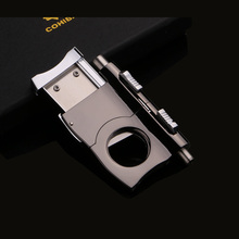 Classic Titanium Thicken Cigars Cutter Cigar  Scissors Cigar Smoke knife With Two Cigar Punch