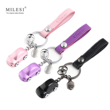 Фотография MILESI Couple Metal Car Shape Key chain LED Light Keychain Lover Housekeeper Key Holder Zinc Alloy Keyring Charm pendant K0196
