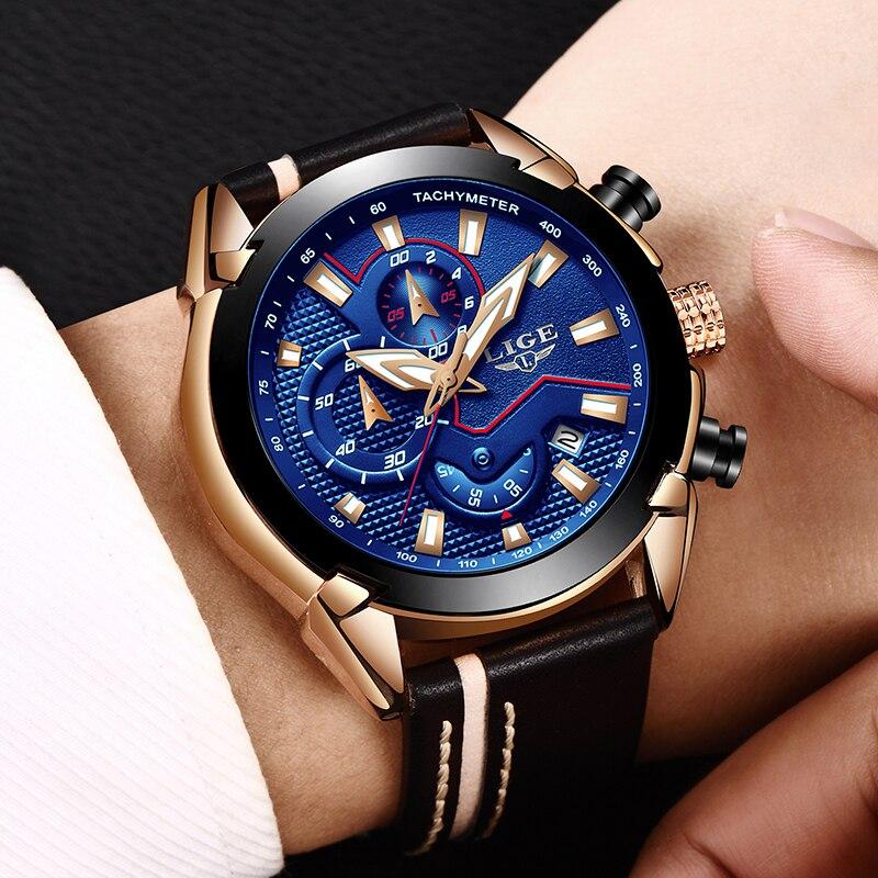 Reloje LIGE Marca Cronógrafo Analógico de Quartzo dos homens Relógio com Data, Ponteiros Luminosos, wristswatch Cinta de Couro à prova d' água para o Homem