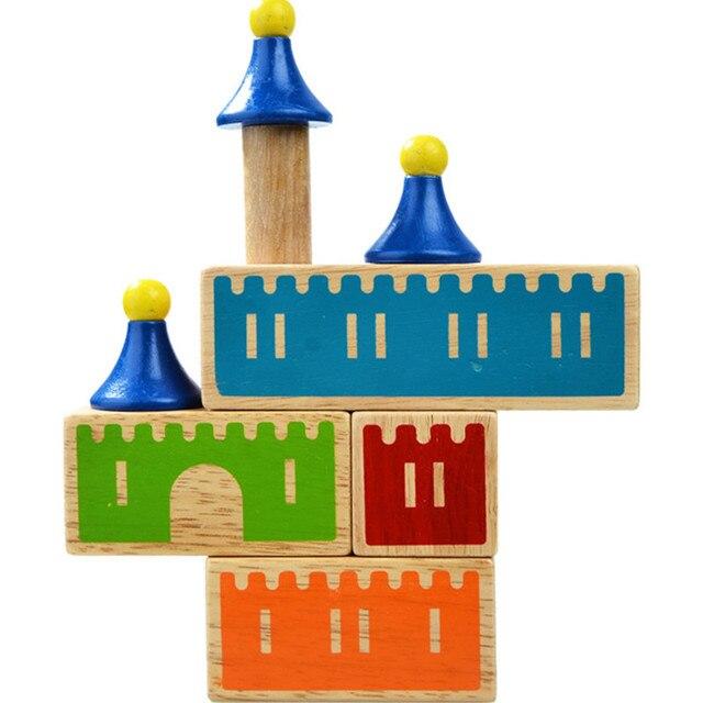 Castle Logix Wooden Building Blocks 48 Challenge Smart IQ Training Games For Children Oyuncak Brinquedos Brinquedo