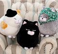 Japan Anime Moustache Steamed bread Cat Plush Doll Toy Britheday Gift Kids Bady