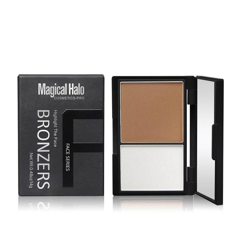 High quality Highlighter 2 Color Contour Bronzer shading Powder Brighten Shading Powder Mirror 3D Facial Makeup 55g 6027