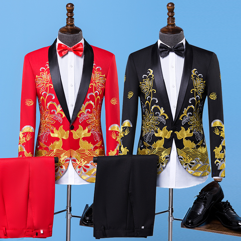 2018 New Arrival Brand Men Suits Embroidery Blazers Slim Fit Suit Black/Red Wedding Prom Groom Host Male Vocalist Stage Costumes