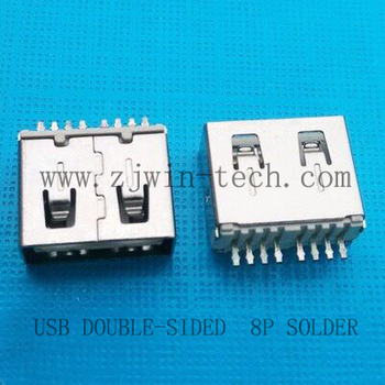 Free shipping 100pcs/lot USB 2.0 socket jack double-sided inserted charging 8Pin 180degree