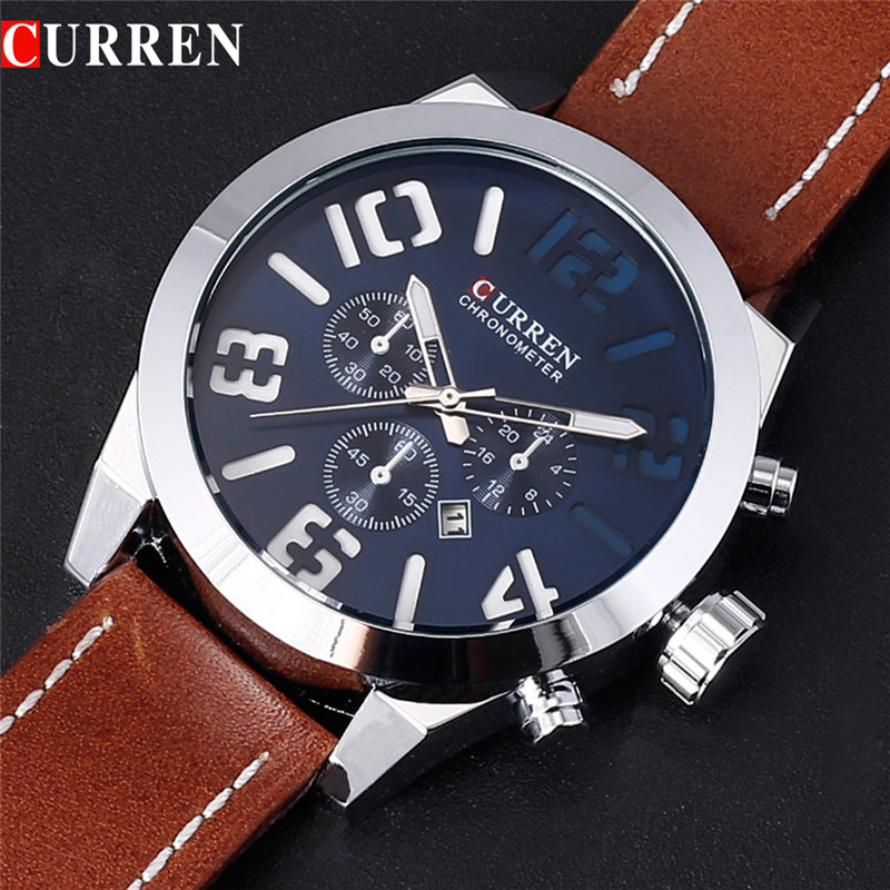 CURREN 2018 Luxury Brand Military Watch Men Quartz Analog Clock Leather Strap Man Sports Watches Army Relogios Masculino dom men watch top luxury men quartz analog clock leather steel strap watches hours complete calendar relogios masculino m 11