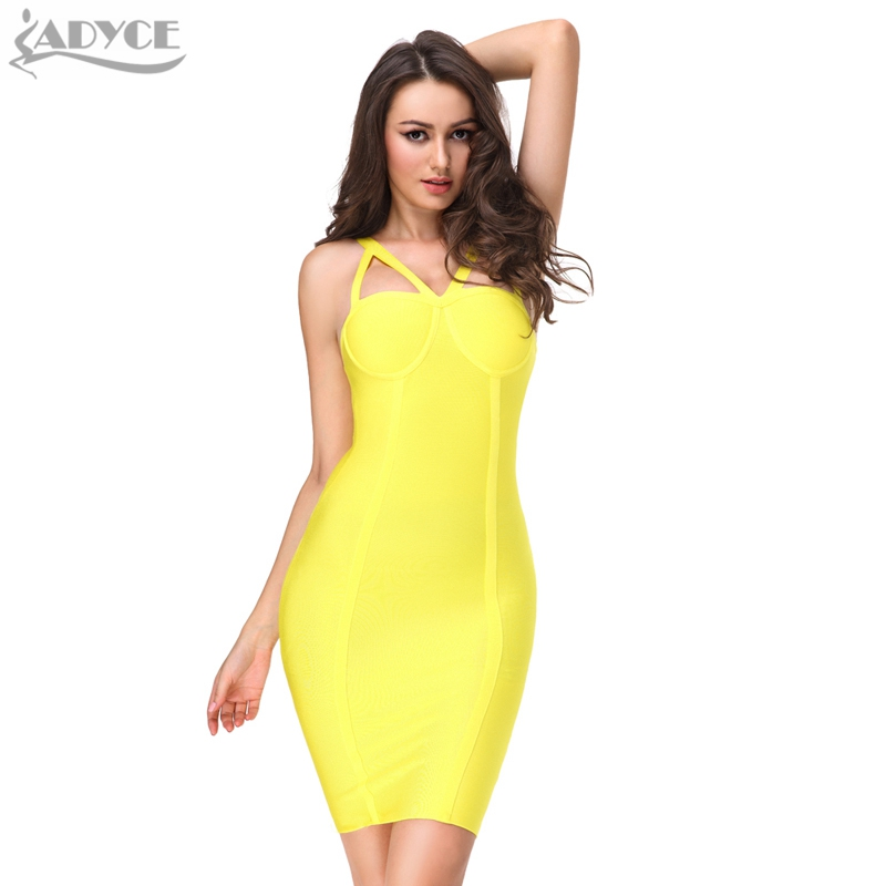 ed386b1468 US $34.88 |2017 Summer Women Runway Bandage Dress Bodycon Dress Yellow  Spaghetti Strap Hollow Out Backless Celebrity Cocktail Party Dresses-in  Dresses ...