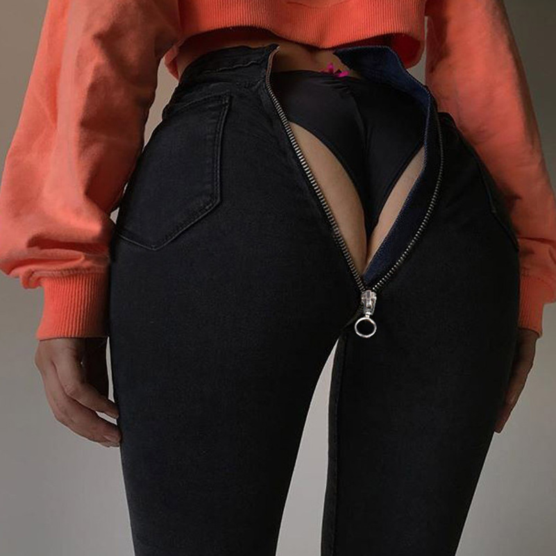 Factory Source Sales 2019 New Style High-q Zipper Elastic Fabic Material Black Blue Hot Sale Sexy Streetwear Female Pants Jeans