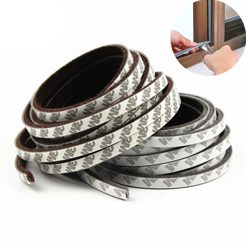 10M Self adhesive door window sealing strip Wind-proof Brush Strip windown protector tape for Door Draught Excluder Window Pile
