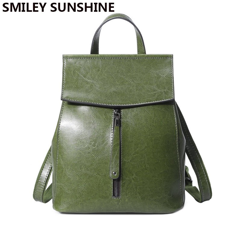 SMILEY SUNSHINE women backpack split leather backpacks for girls teenagers school bag ladies shoulder bag female backpack black