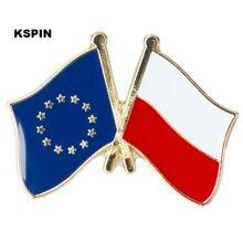 European Union Poland Friendship Flag Badge Flag pin XY0084