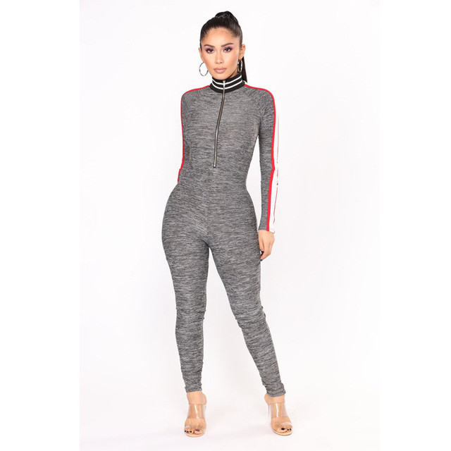 390c681f3d10 Women One Piece Outfits Casual Fitness Jumpsuits Long Sleeve Side Striped Front  Zipper Bodycon Jumpsuit Romper Fashion Overalls
