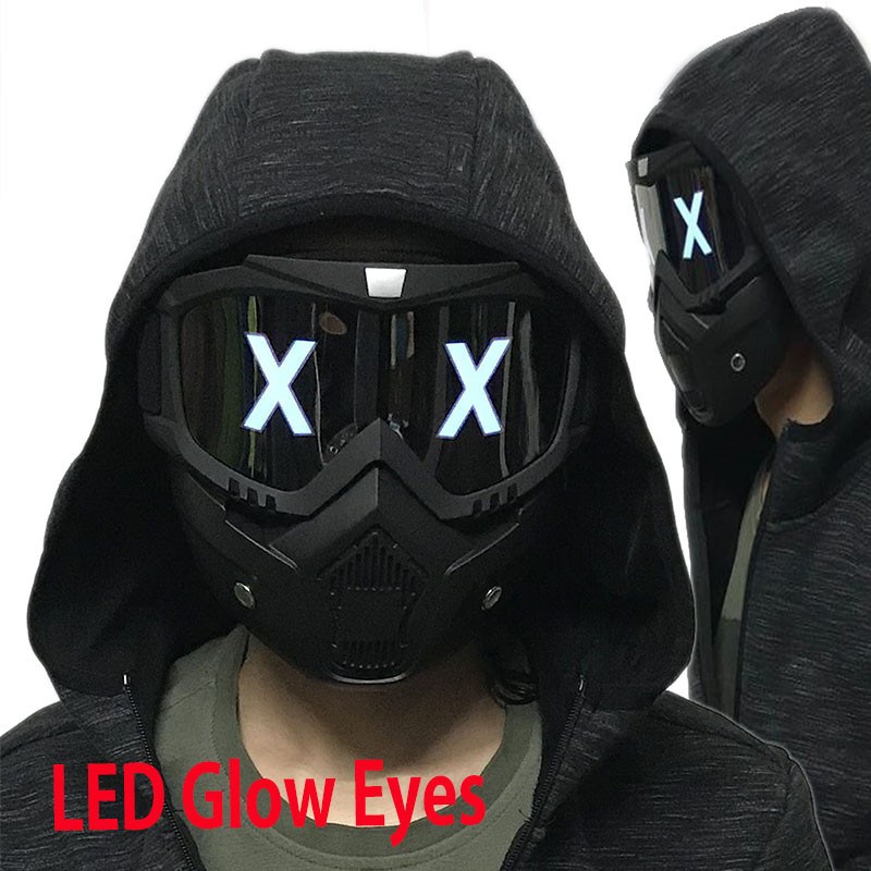 LED Lights Mask Luminous Half Face X Glowing Eyes DIY Eyewear Mask Removable masks DJ Party Halloween Cosplay Prop Gift(China)