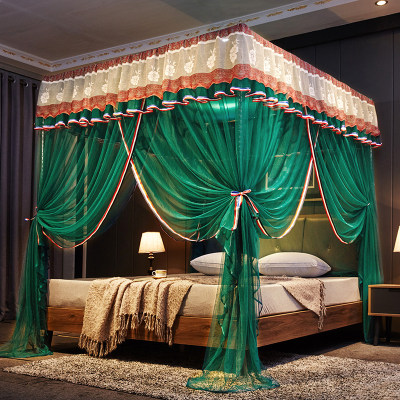 Luxury Green Brown Red Purple Three Open Door White Lace Palace Mosquito Net 25mm Stainless Steel Mosquito Frame Bedding Set in Mosquito Net from Home Garden