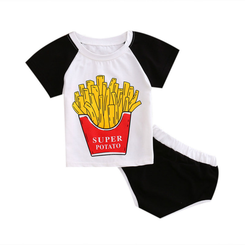 Summer 2PCS Cute Set Kids Baby Boys Girls Unisex Outfits Short Sleeve T-shirt Tops Print Short Pants Bottoms Active ClothingZ
