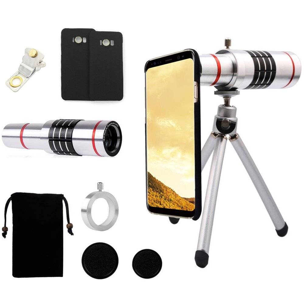 18x Magnifier Manual Focus Telephoto <font><b>Lens</b></font>+Phone Case+Cleaning Cloth+Self Tripod Photo Telescope <font><b>Lens</b></font> For <font><b>Samsung</b></font> <font><b>Galaxy</b></font> S8 <font><b>S9</b></font> + image