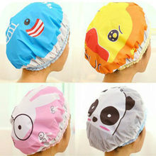 Cute Cartoon Shower Bath PVC Cap Women Hat For Baths And Saunas Lace Elastic Band Cap Spa Women Kids Hair Protective Thick Cap(China)