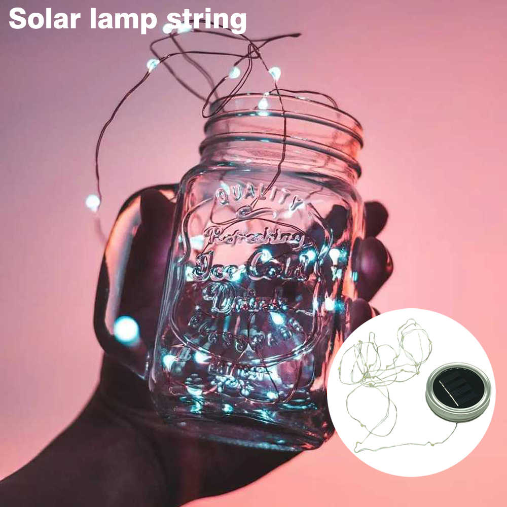 LED Fairy Light Solar For Mason Jar Lid Insert Color Changing Garden Decor 2017 Hot Sale christmas lights outdoor wedding decor