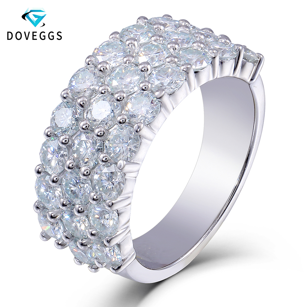 DovEggs 14K 585 White Gold Moissanite Wedding Band for Women 0.1ct 3mm FG Color Lab Created Moissanite 2.8CTW Ring Shiny Band