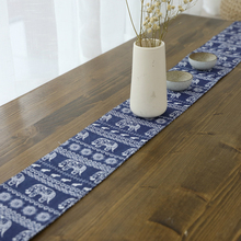 Lychee Blue Elephant Pattern Table Runner Creative Simple For Wedding Party Home