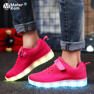 Image 1 - Size 25 37 Children Glowing Sneakers Kid for Boys Girls Shoes with Light up luminous sole canvas shoes luminous led slippers
